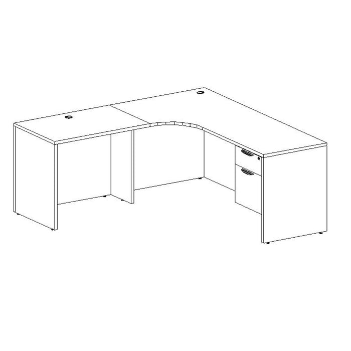 Corner L Desk with Inner Curve 6' X 6' - Duckys Office Furniture