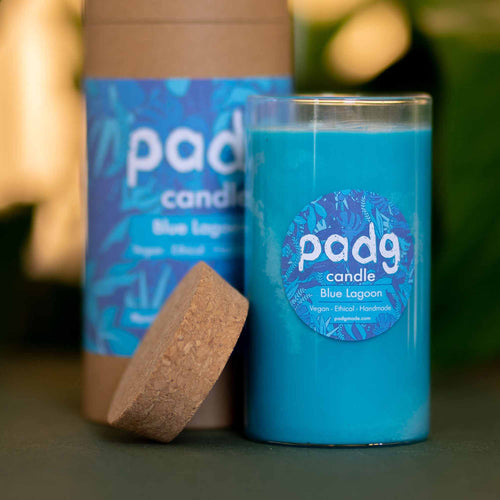 Blue Lagoon - Large cork padg candle - padg made
