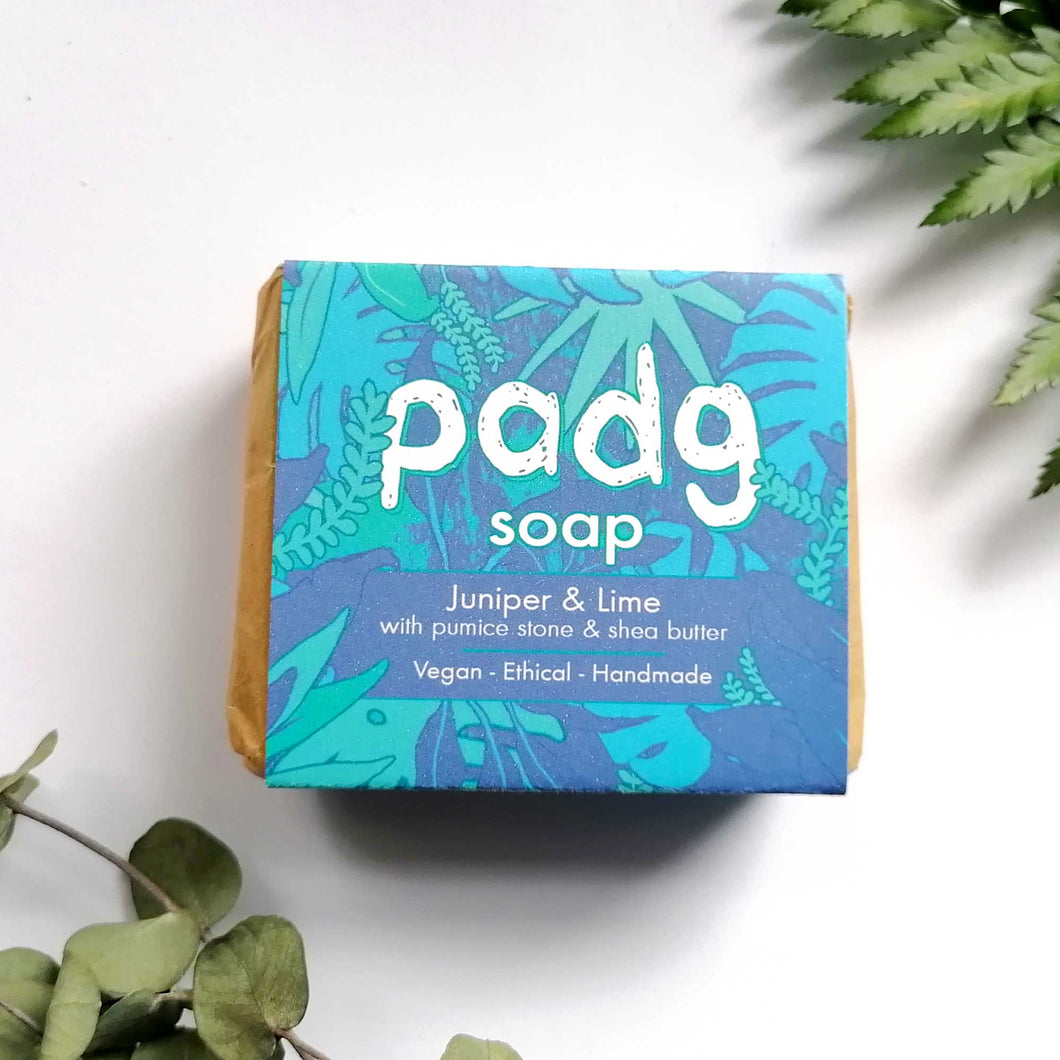 padg soap - Juniper and Lime with pumice stone and organic shea butter