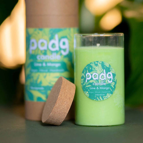 Lime and Mango - Large cork padg candle - padg made