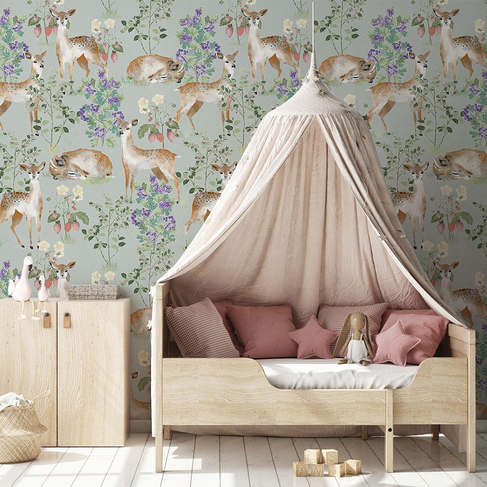 Anca's Fawn in Green wallaper kids room