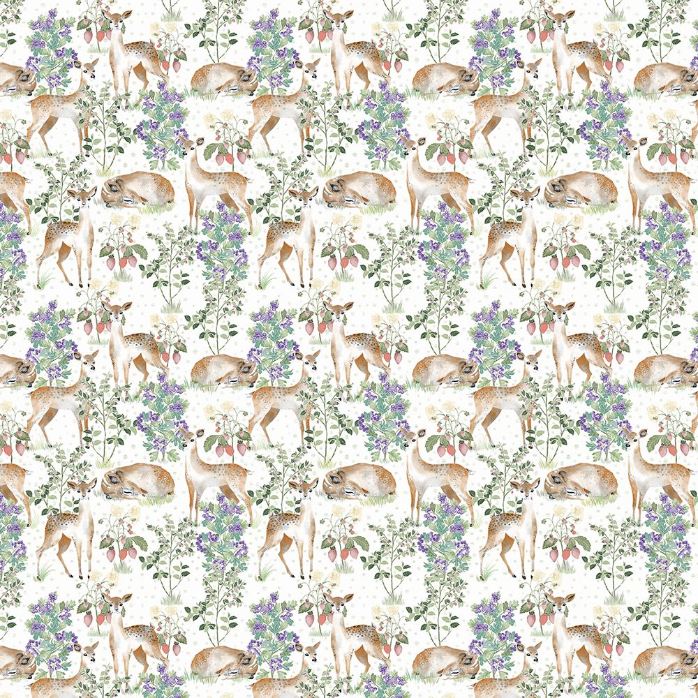 Anca's Fawn in White wallpaper wallcovering