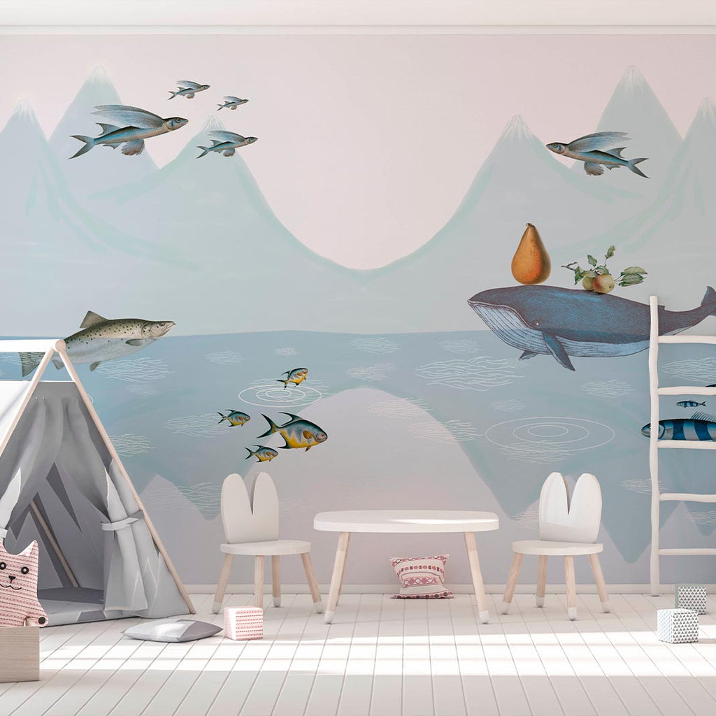 The fish can fly wallpaper for kids