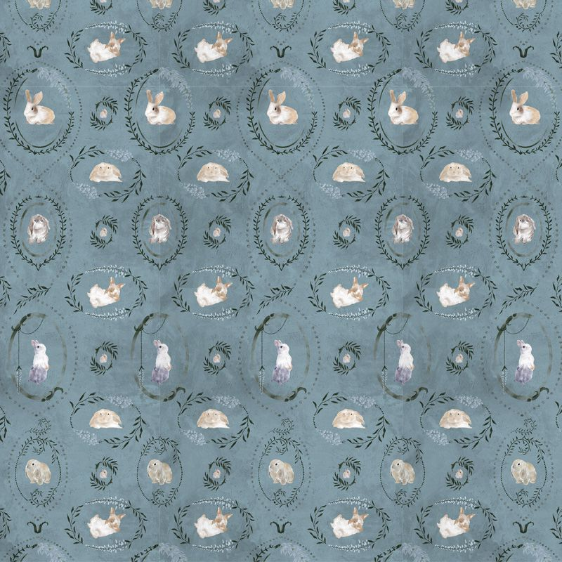 hare medallion blue aedkids wallpaper