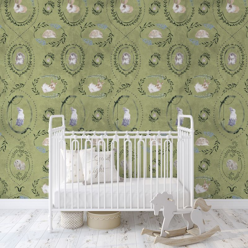 hare medallion green aedkids wallpaper