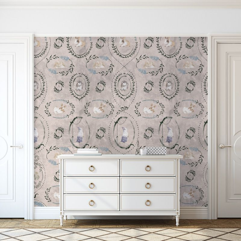 hare medallion ivory aedkids wallpaper
