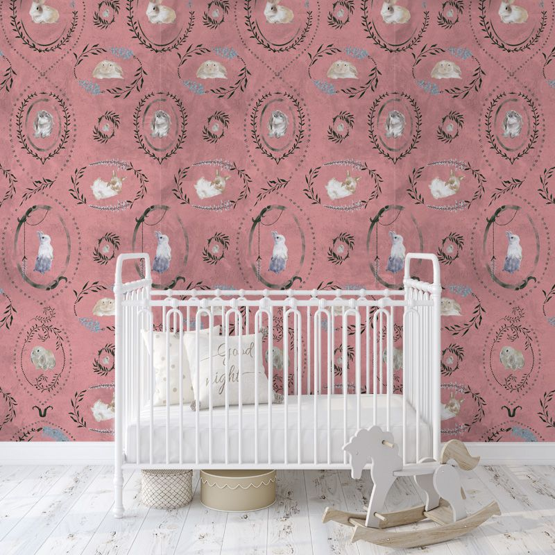 hare medallion pink aedkids wallpaper