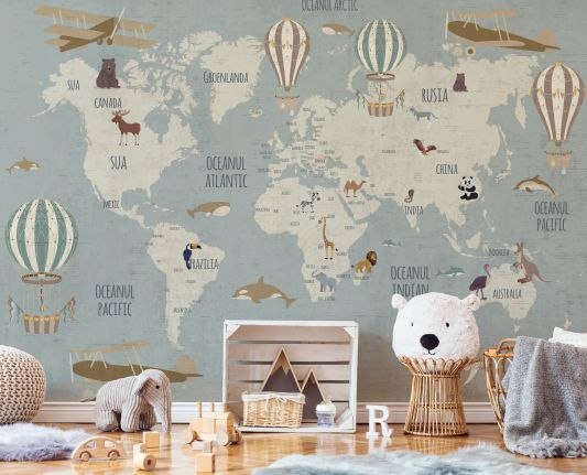 vintage travel map wallcovering aesthetic kids