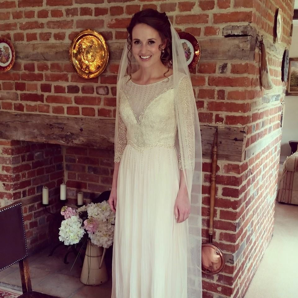 Elliot Claire Long Sleeved Lace Wedding Dress in Cream Colour