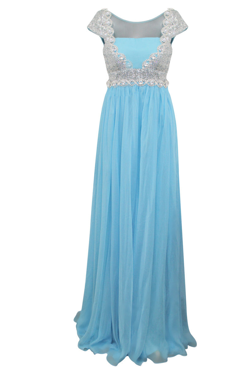 Powder Blue Floor Length Evening Dress With Silver Jewels