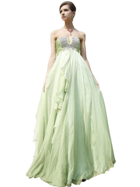 Lime Green Bridesmaid Dress With Ruffled Skirt 80321
