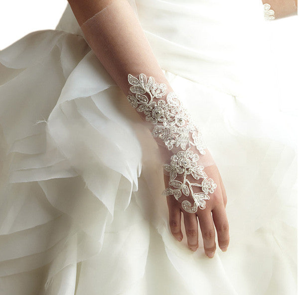 Long fingerless lace bridal gloves 2379 elliot claire for Wedding dress with long gloves
