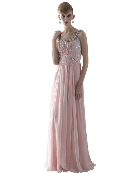 Pink Chiffon Prom Dress With Shimmer Details 80825
