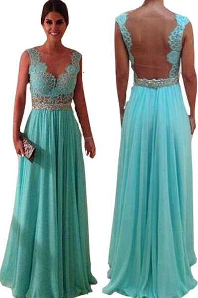 Sleeveless Lace Teal Evening Dress 84105 Made To Order
