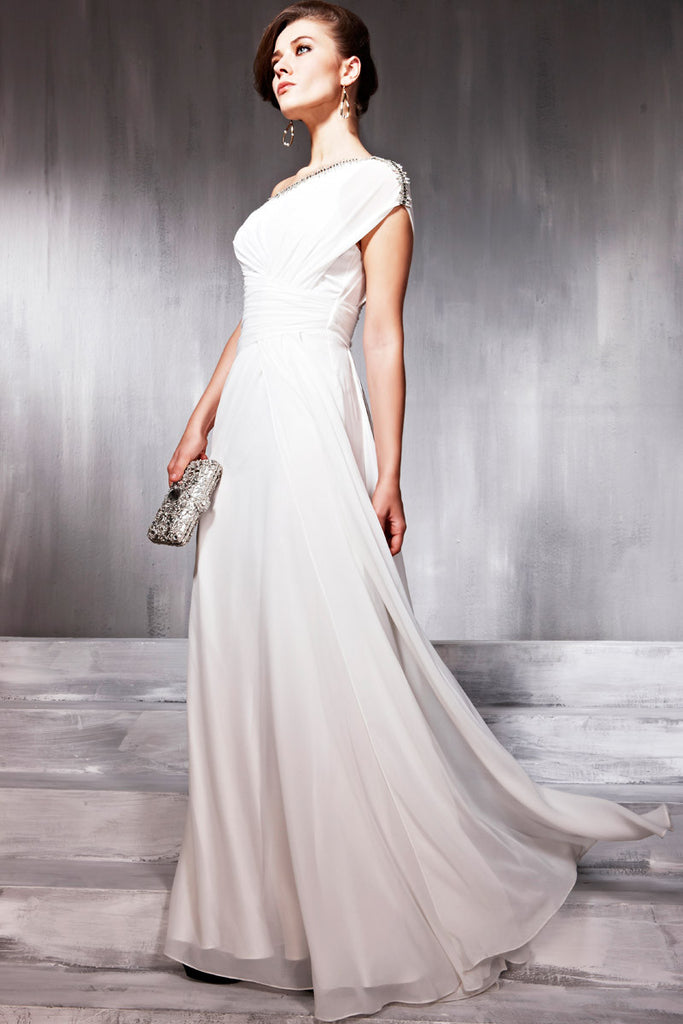 Asymmetrical White Wedding Dress With Silver Lining (56861 ...