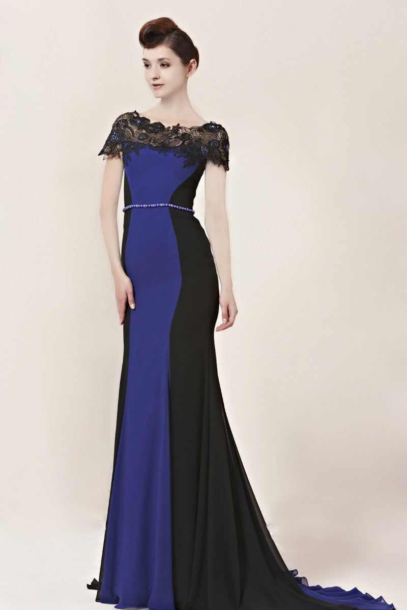 Inna in Black and Blue Evening Dress with Lace Neckline (30016 ...