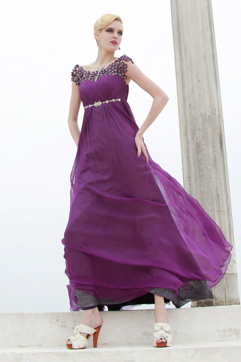 Purple Evening Dress With Floral Embellished Sleeve (80569 ...