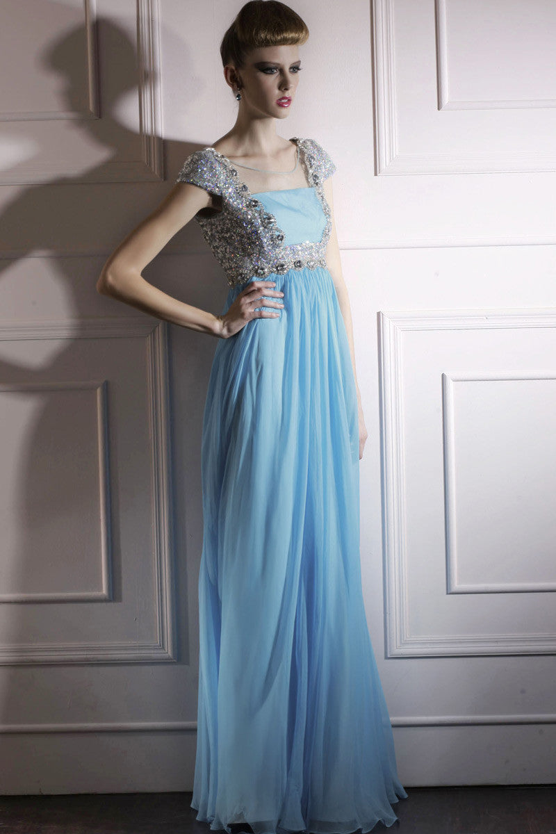 Powder Blue Floor Length Evening Dress With Silver Jewels (80990 ...