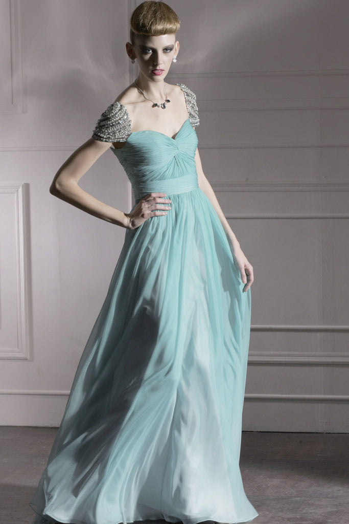Teal Chiffon Prom Dress With Silver Jewels 80951