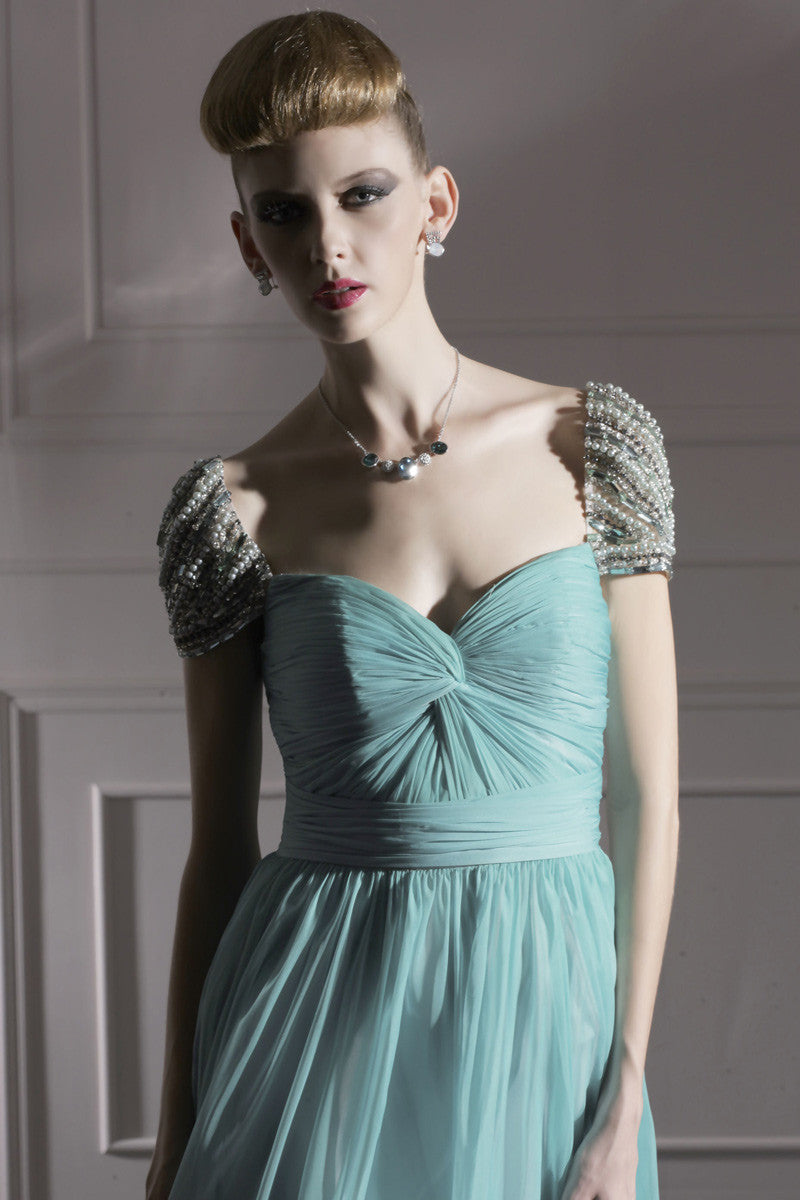 Teal Chiffon Prom Dress With Silver Jewels (80951) - Elliot Claire ...