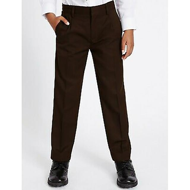Brown School Trousers with Elasticated Waist