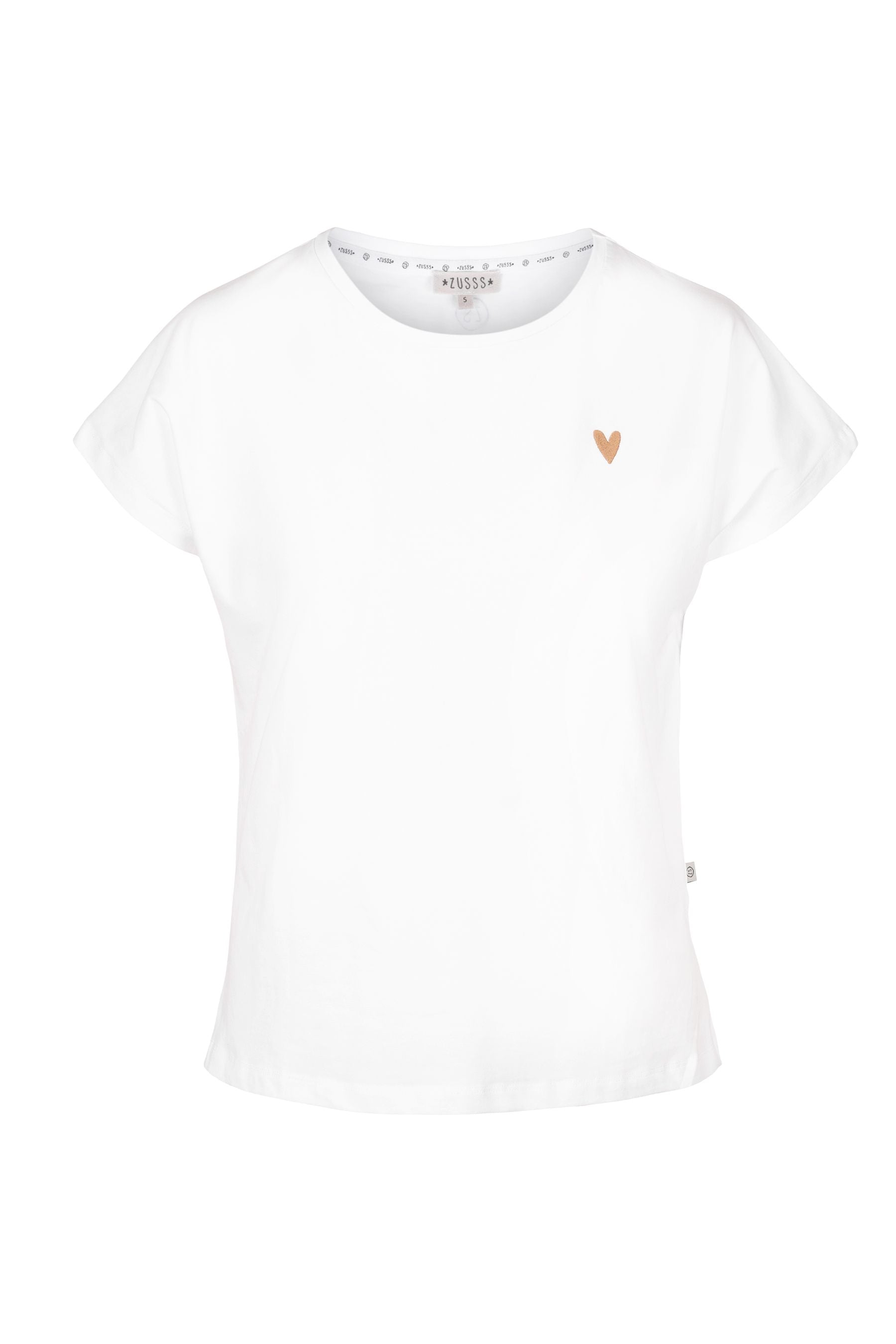 Basic t-shirt hartje, Wit