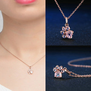 Rose Gold Paw Necklace