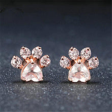 Load image into Gallery viewer, Rose Gold Paw Earrings