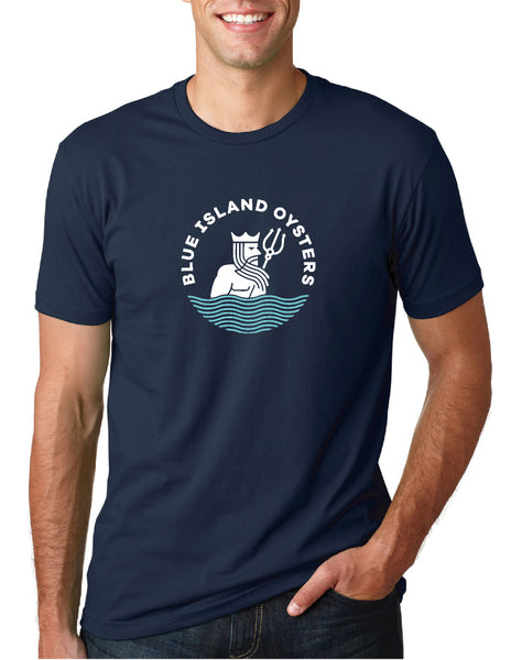 Short Sleeve Blue Island Oysters Logo T-shirt | Navy Blue