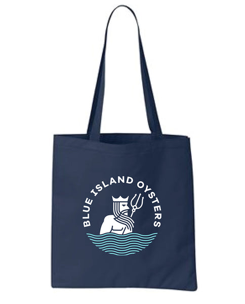 Reusable Canvas Blue Island Oyster Tote Bag | Navy Blue