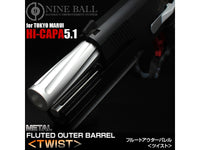 NINE BALL Twisted Fixed Outer Barrel for Hi-CAPA 5.1-SILVER