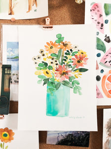 Custom Watercolor Flowers