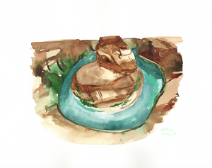 Watercolor print: Horseshoe Bend, Arizona landscape