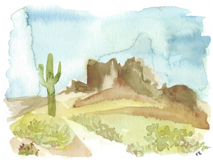 Watercolor print: Lost Dutchman, Arizona landscape