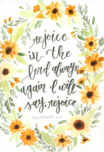 "Watercolor print: ""Rejoice in the Lord always"" Bible verse"