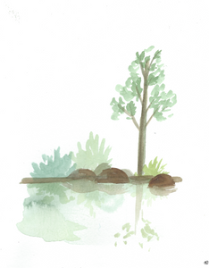 Watercolor print: Water reflection landscape