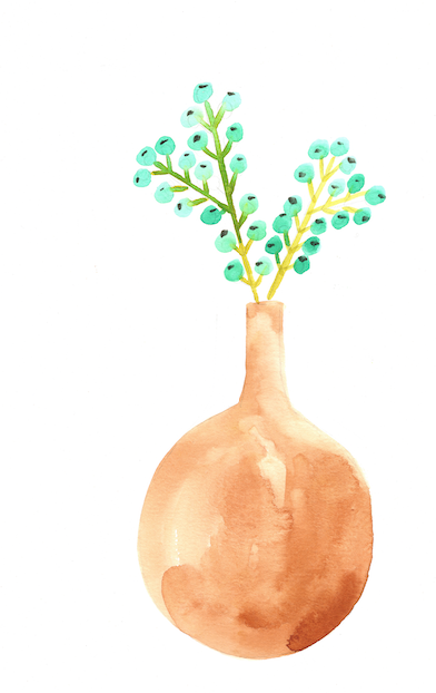 Watercolor print: Mid century orange vase