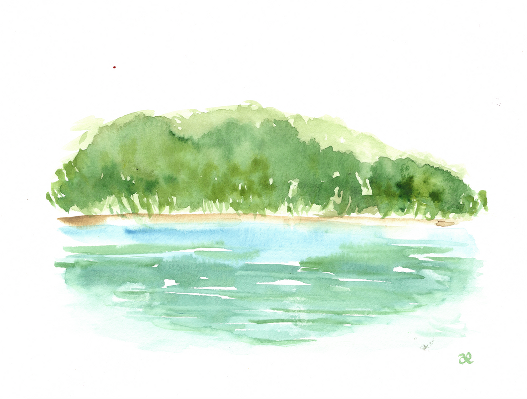 Watercolor print: South Carolina Lake Reflection