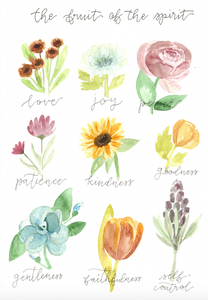 Watercolor print: The Fruit of the Spirit Vintage Floral Botanicals