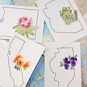 Custom Watercolor State Flowers