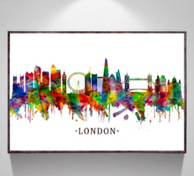Load image into Gallery viewer, Rainbow paint London canvas print