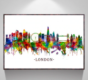 Rainbow paint London canvas print