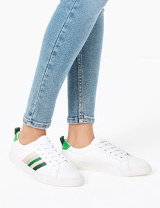 Marks and Spencer green ribbon trainers