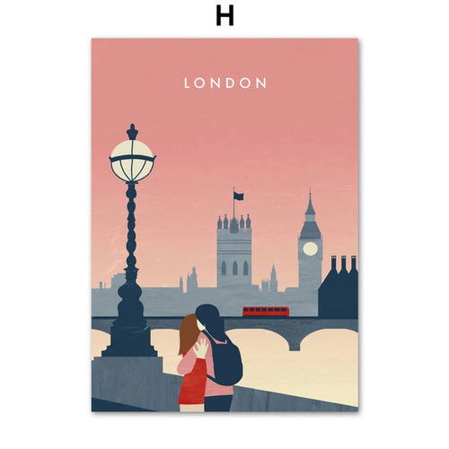 Vintage-look London travel print