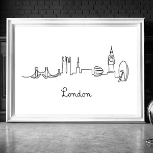 London NY Line Drawing Nordic Posters Prints Modern Canvas Painting Wall Minimalist Picture For Bedroom Home Decor