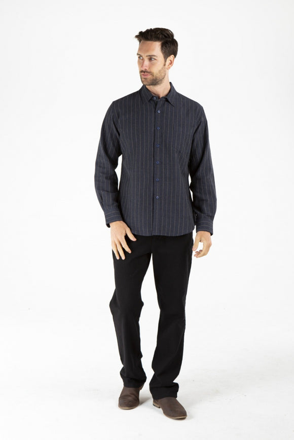 Mens hemp long sleeve shirt with pinstripes - by Braintree