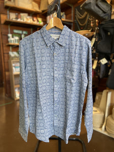 Men's hemp cotton print long sleeve shirt - Navy blue with white shapes, by Braintree