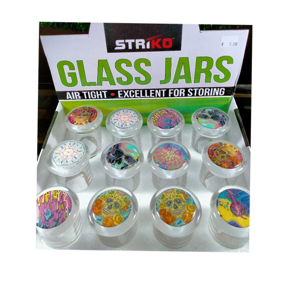 GLASS JAR - STRIKO (COLOUFUL PICTURE TOP ONES ONLY) - 1/8OZ AIR TIGHT POP LID