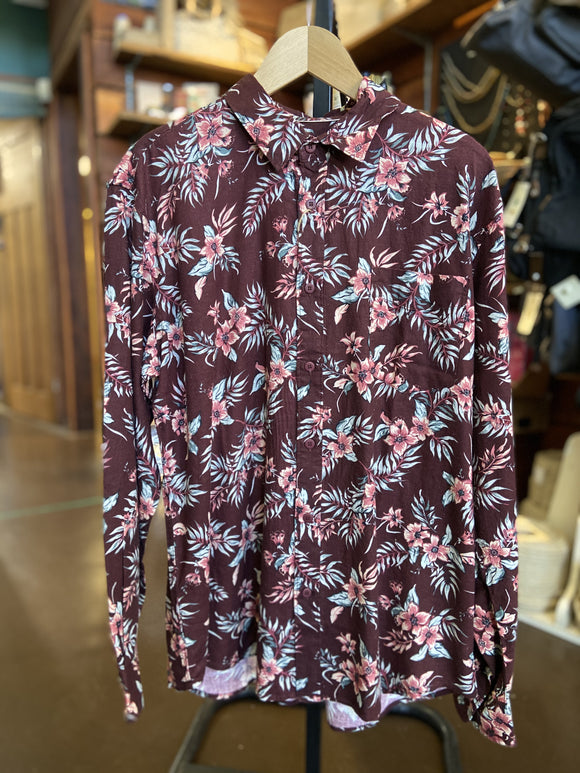 Men's hemp cotton long sleeve red floral shirt