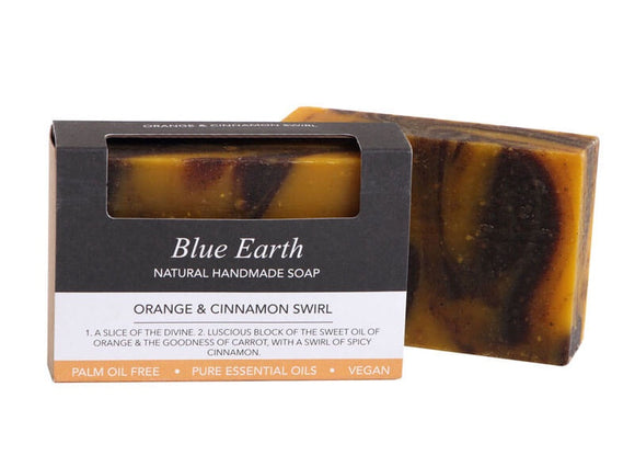 HEMP SOAP BLUE EARTH ORANGE & CINNAMON SWIRL MED 85G